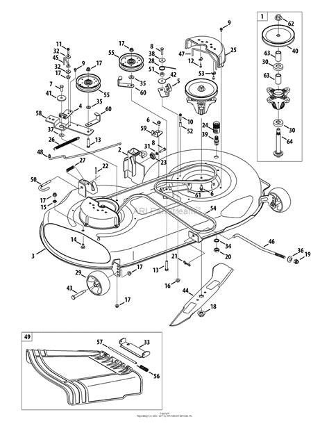 mtd 46 inch drive belt diagram mtd 13al771t004 2010 parts diagram for mower deck 46 inch