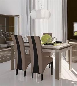 emejing salle a manger noire et blanche ronde design With salle a manger blanc et noir