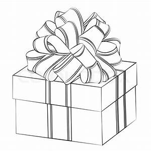 Black outline vector gift box on white background Stock