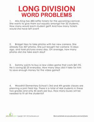 long division word problems word problems math word