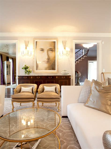 White Living Room With Gold Accents Modern House