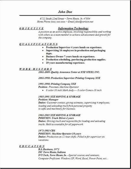 information technology resume occupational exles