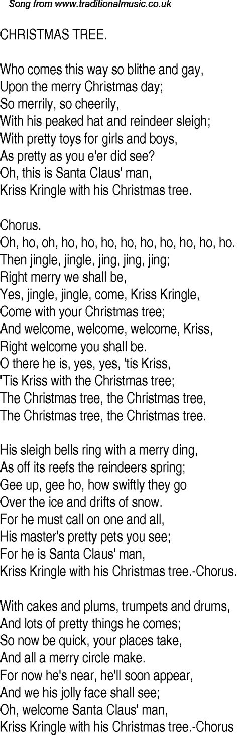 old time song lyrics for 13 christmas tree