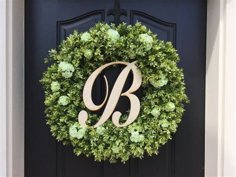 spring wreaths boxwood wreathmonogram wreath wooden letter boxwood wreathsartificial boxwood