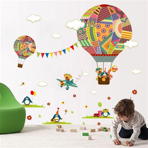 colorful hot air balloon forest animals nursery room wall