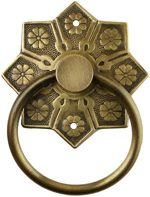 eastlake star pattern ring pull  antique  hand house  antique hardware