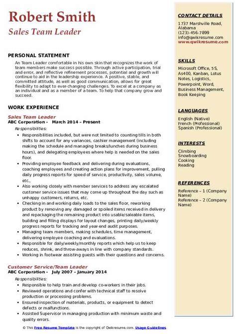 team lead resume samples qwikresume