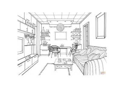 Living Colorear Interior Dibujos Coloring Sala Printable