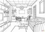 Coloring Living Drawing Kitchen Interior Printable Zeichnen Luminous Ball Modern Zimmer Perspective Adult Sketch Ausmalen Ausmalbilder Sketches Mit Bilder sketch template