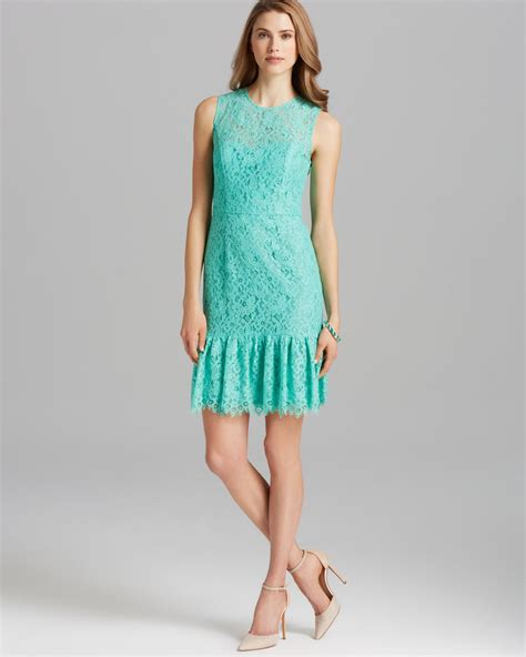 green flare dress lyst shoshanna dress rainey sleeveless lace drop waist