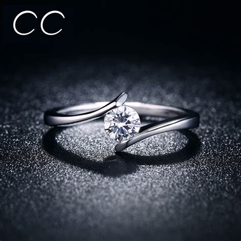 simple design engagement ring white clear zirconia classic wedding rings for women marriage