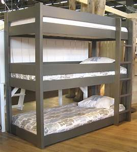 Cool Grey Finished Custom Wooden Triple Bunk Bed With
