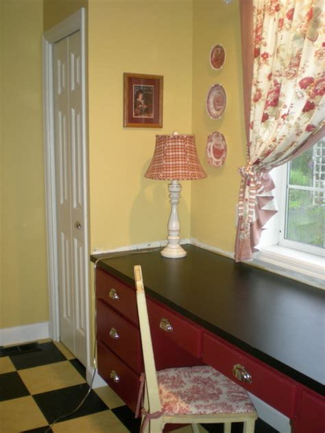 french country laundrymud room yellowred toile