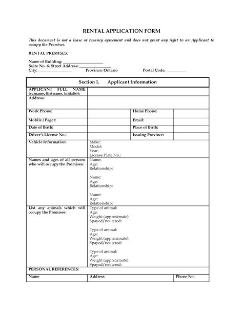 Boat Bill Of Sale New Hshire by Ontario Rental Application Form Forms And Business