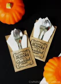 craftaholics anonymous thanksgiving free printable quote utensil holder
