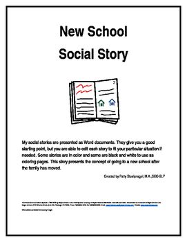 New School Social Story By Social Stories By Patty Stuelpnagel Tpt
