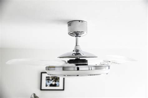 ceiling fan fanaway dimmable led evo1 chrome with retractable blades 122cm 48 quot