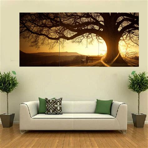 wall decor 3pcs sunset combination painting printed on canvas