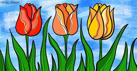 disegni  tulipani da stampare  colorare gratis