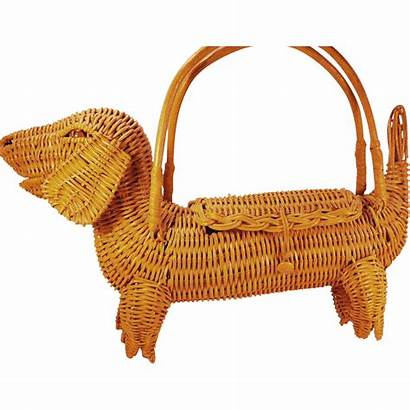 Dog Purse Wicker Bags Novelty Yellow Figural
