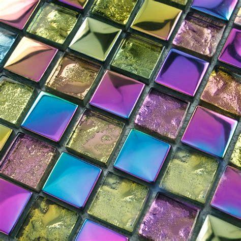 kitchen backsplash cheap iridescent glass mosaic tile backsplash mesh mounted metal 2202