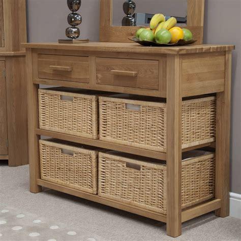 sofa table with baskets eton solid modern oak hallway furniture basket hall