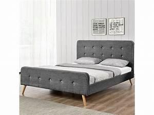 Lit Scandinave 160x200 : lit scandinave gris tailles 160x200 vente de meubler design conforama ~ Teatrodelosmanantiales.com Idées de Décoration