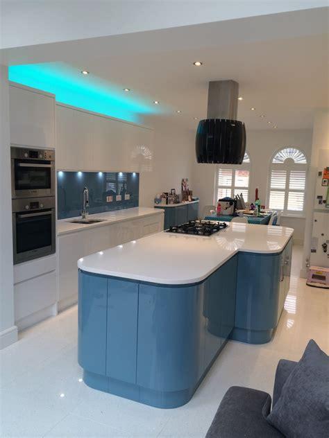 handleless white blue german kitchen bishops stortford