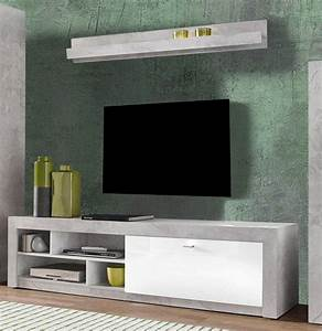 Tv Lowboard Beton : lowboard tv unterschrank mit wandregal 200cm beton wei hochglanz neu lowboards wohnzimmer ~ Indierocktalk.com Haus und Dekorationen