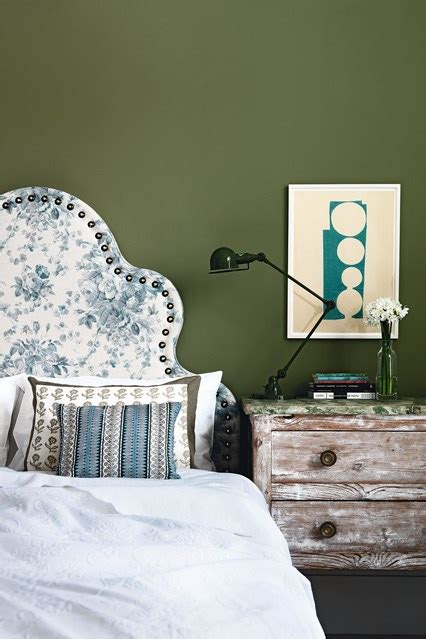 Olive Green Bedroom With Floral Headboard Bedroom