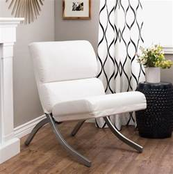 white accent chair bonded leather modern living room