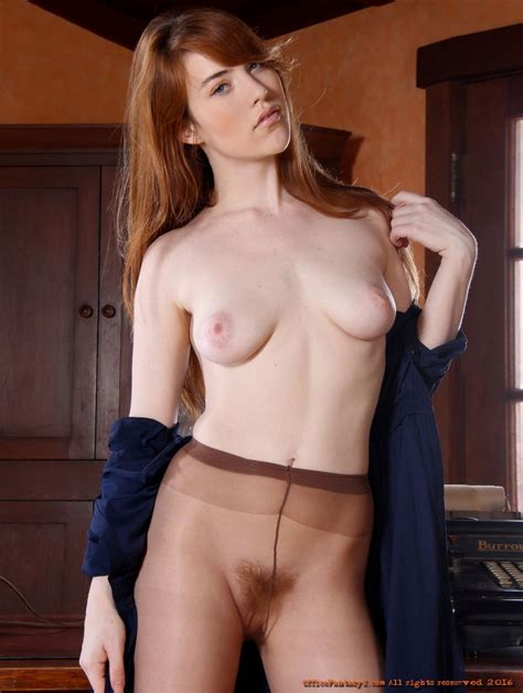 Young Redhead Secretary Gwen Strips Off Her Dress To Show