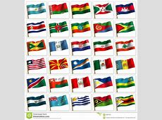 Collage From Flags Of The Different Countries Stock