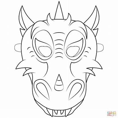 Dragon Mask Printable Coloring Pages Chinese Supercoloring