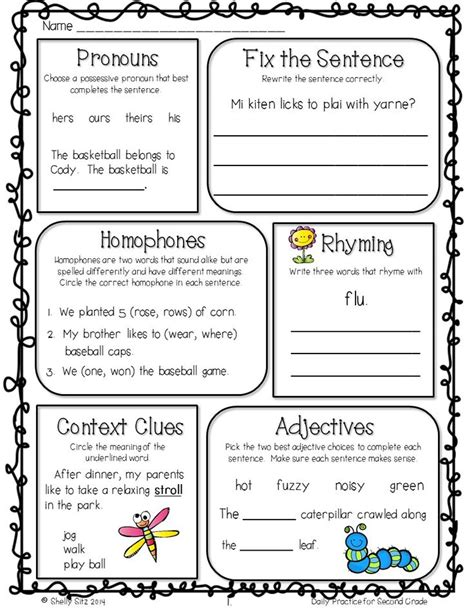 Grammar Review For 2nd Gradefree Morning Work  Graphic Organizers  Pinterest Grammar