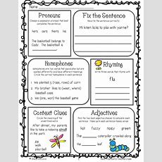 Grammar Review For 2nd Gradefree Morning Work  Graphic Organizers  Pinterest  Morning Work