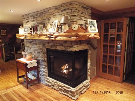 Fireplace Remodel With Two Sided Fireplace And Cedar Tree
