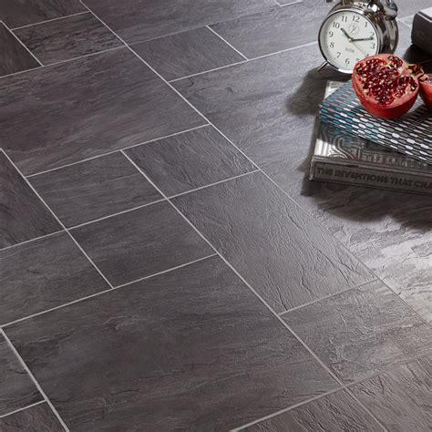 Libretto Black Slate Tile Effect Laminate Flooring 186 M²