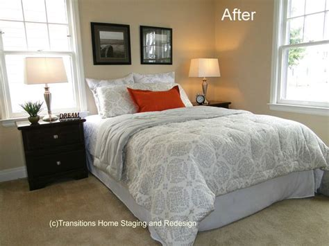 bedroom in neutral shades no headboard home staging