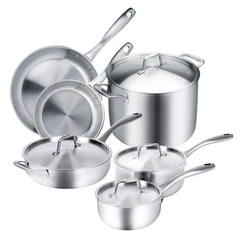 cookware stainless steel induction ply tri clad duxtop whole amazon pc ready magnetic pans pots glass premium stoves sets triply