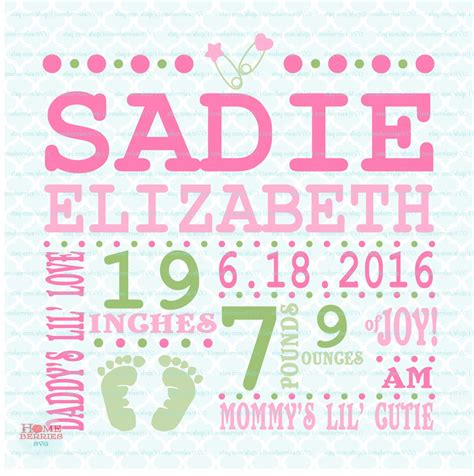 • list with links of the free fonts that are used for you… Birth Announcement Template svg Birth svg Baby svg   Etsy ...