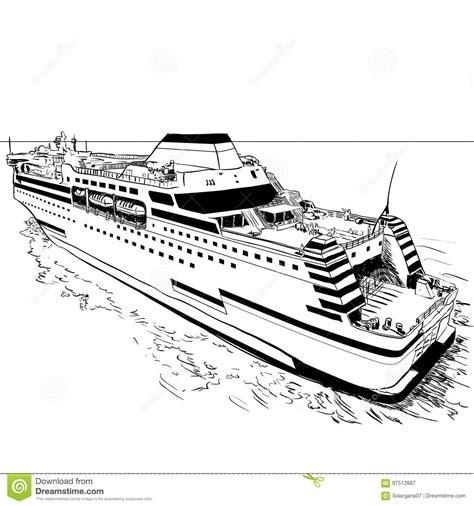 Kleurplaat Binnenvaartschip by Drawing Ferry Vector Illustration Stock Vector