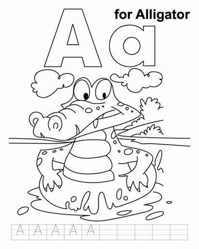 Alligator Coloring Pages Alphabet Letter Printable Worksheets