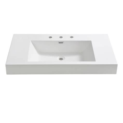Fresca Fvs8090wh Vista 36 Inch White Integrated Sink With