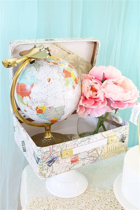 diy travel suitcase centerpiece travel theme bridal