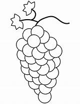 Grapes Coloring Pages Bunch Printable Fruit Template Drawing Grape Colouring Crafts Fruits Cluster Medium sketch template