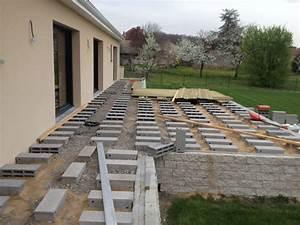 construction terrasse sur parpaing With terrasse bois sur parpaing plein