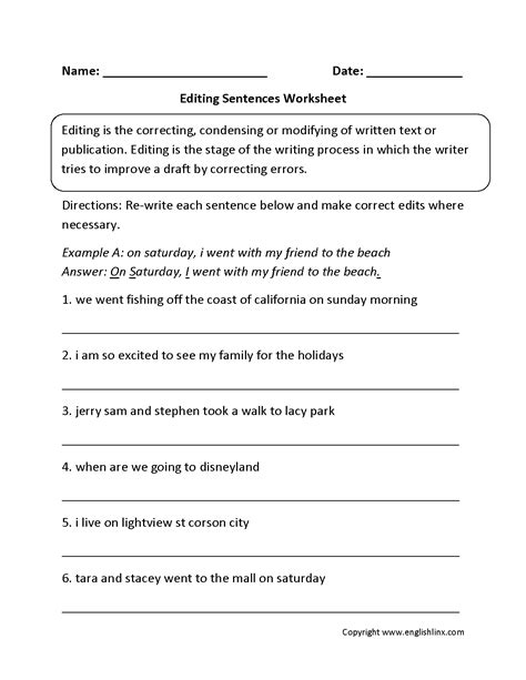 6th grade proofreading worksheets writing worksheets editing worksheets