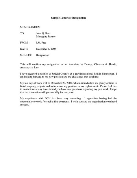 Free Printable Letter of Resignation Form (GENERIC)