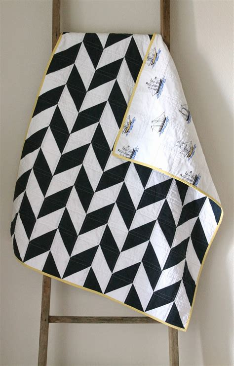 Navy White Quilt by Craftyblossom Navy And White Nautical Herringbone Quilt